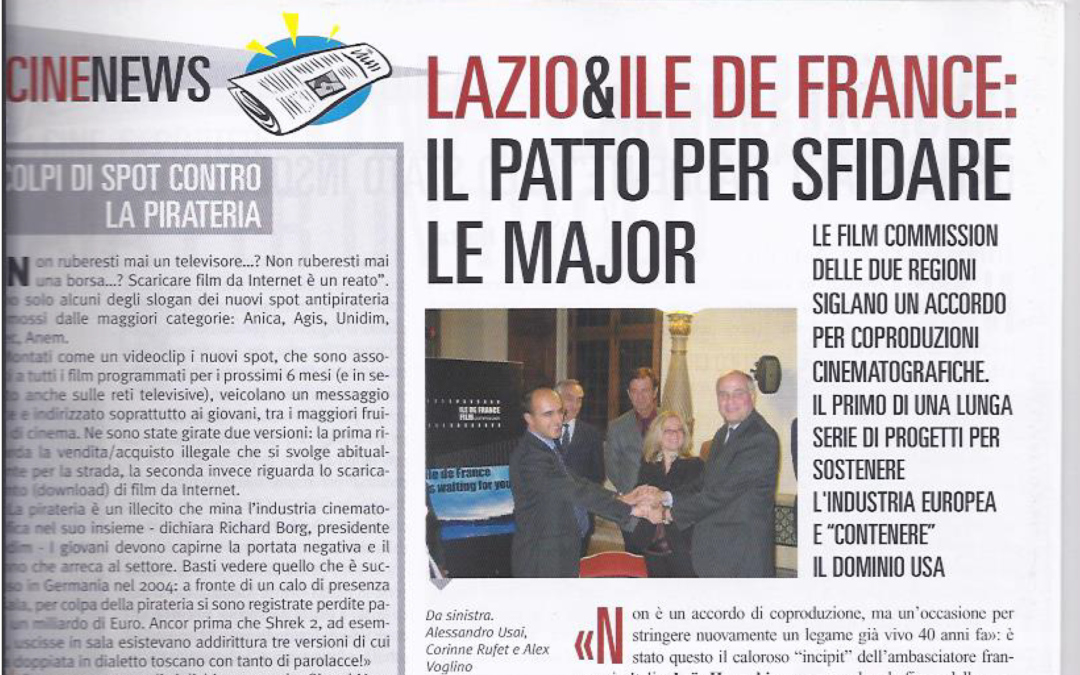 CINECORRIERE: LAZIO & ILE DE FRANCE IL PATTO PER SFIDARE LE MAJOR