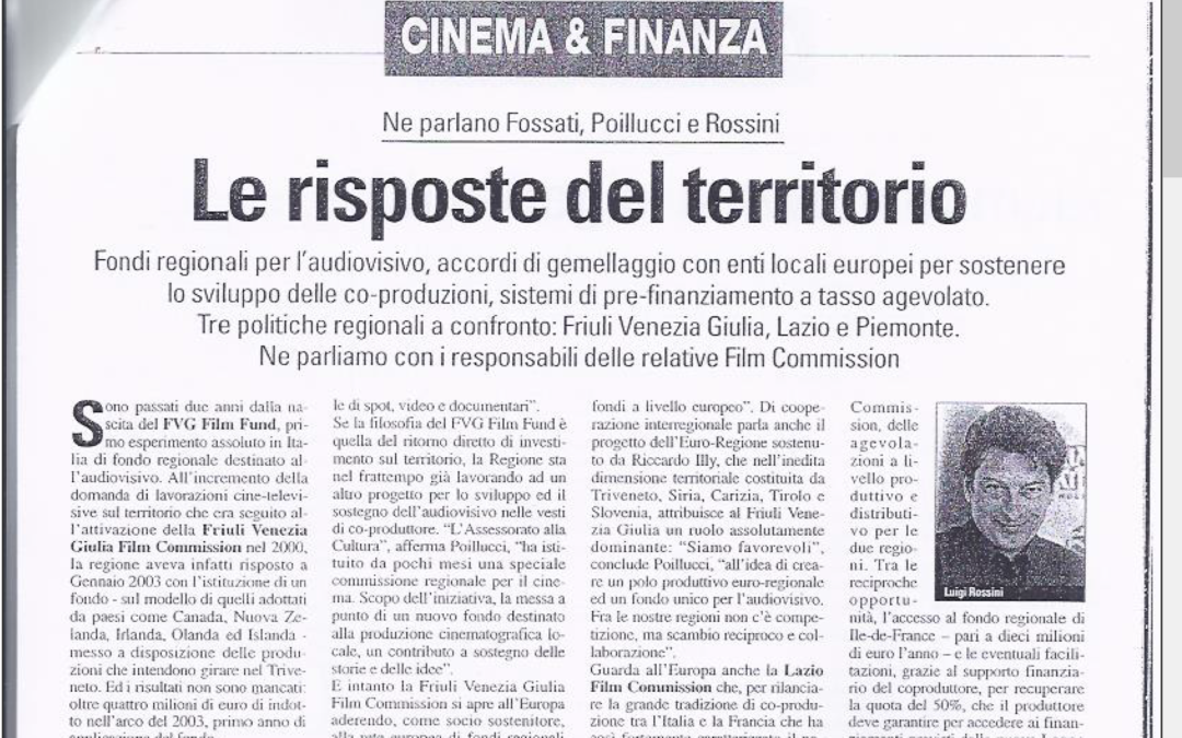 CINEMA & VIDEO: LE RISPOSTE DEL TERRITORIO